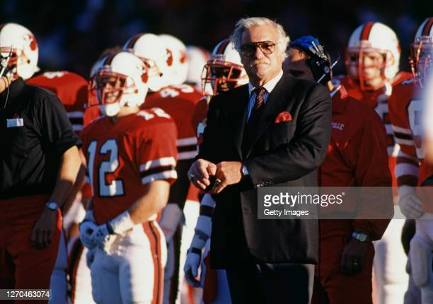 Howard Schnellenberger, Head Coach for the University of Louisville Cardinals on the side line during the NCAA Independent Conference college...