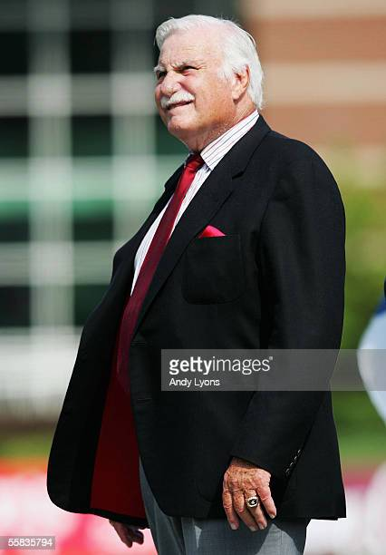 Howard Schnellenberger the Head Coach of the Florida Atlantic Owls is pictured during the game against the Louisville Cardinals at Papa John's...