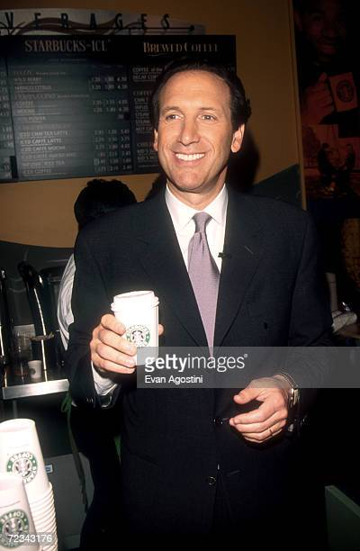 Howard Schultz CEO of Starbucks attends another store opening in his ubiquitous chain of coffee shops May 5 1999 in New York City