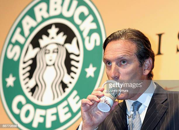 Howard Schultz Chairman Starbucks Coffe Company drinks the company's new product Starbucks Discoveries during a preview party on September 26 2005 in...