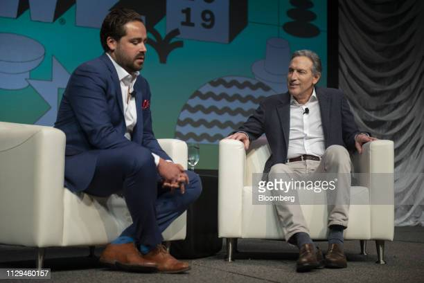 Howard Schultz former chief executive officer of Starbucks Corp right and and Dylan Byers senior media reporter at NBC News speak during the South By...