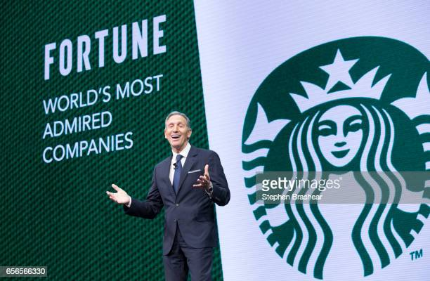 Howard Schultz speaks during the Starbucks annual meeting of shareholders on March 22 2017 in Seattle Washington The 25th annual meeting will be the...