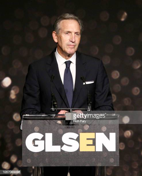 Howard Schultz speaks onstage at the GLSEN Respect Awards at the Beverly Wilshire Four Seasons Hotel on October 19 2018 in Beverly Hills California