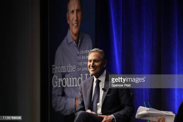 Howard Schultz the billionaire former Starbucks CEO speaks at a Barnes and Noble bookstore about his new book From the Ground Up on January 28 2019...