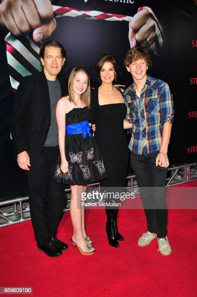 Howard Sherman Annabella Sherman Sela Ward and Austin Sherman attend THE STEPFATHER red carpet arrivals at School of Visual Arts Theater on October...