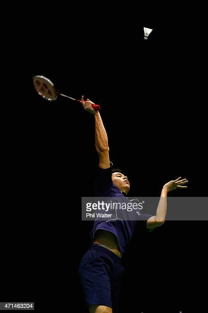 Howard Shu of the USA plays a return to Shesar Hiren Rhustavito of Indonesia during their mens singles match in the 2015 Badminton Open at the North...