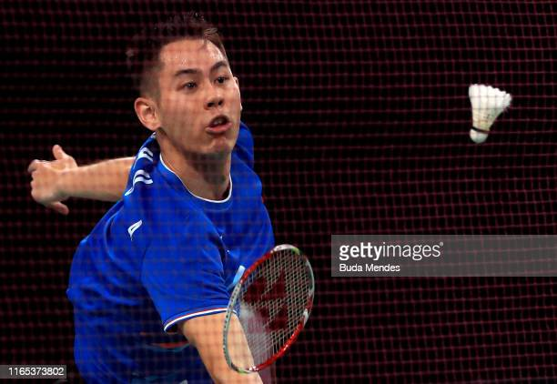Howard Shu of United States competes in Mixed Badminton Doubles Quarterfinal against Peru on Day 5 of Lima 2019 Pan American Games at Sports Center 3...