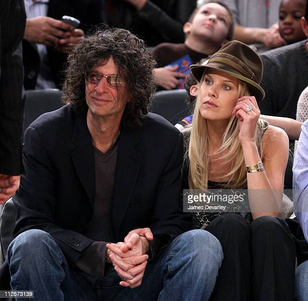 Howard Stern and Beth Ostrosky attend San Antonio Spurs vs NY Knicks game at Madison Square Garden in New York City on February 8 2008
