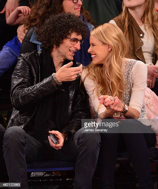 Howard Stern and Beth Ostrosky attend the Brooklyn Nets vs New York Knicks game at Madison Square Garden on April 2 2014 in New York City