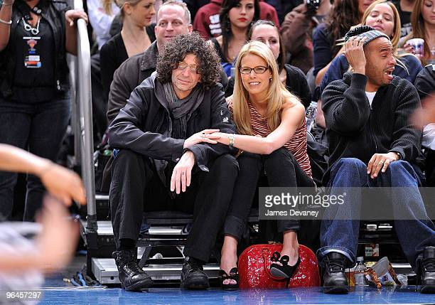 Howard Stern and Beth Ostrosky attend the Milwaukee Bucks vs New York Knicks game at Madison Square Garden on February 5 2010 in New York City
