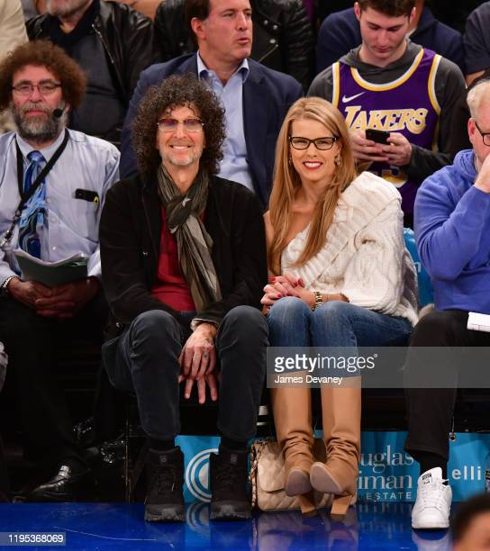 Howard Stern and Beth Ostrosky Stern attend Los Angeles Lakers v New York Knicks game at Madison Square Garden on January 22 2020 in New York City