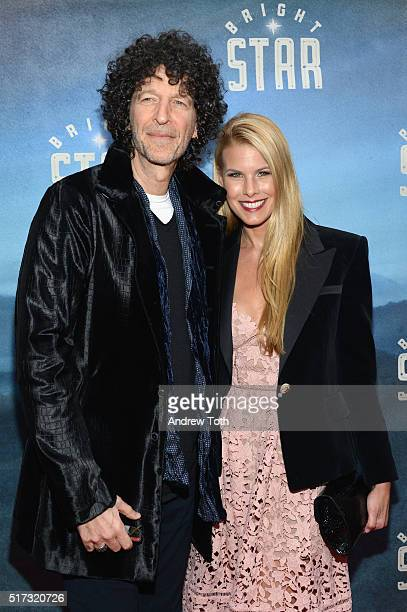 Howard Stern and Beth Ostrosky Stern attend the Bright Star opening night on Broadway on March 24 2016 in New York City