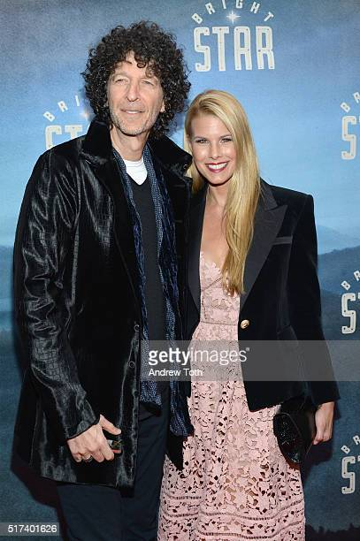 Howard Stern and Beth Ostrosky Stern attend the 'Bright Star' opening night on Broadway on March 24 2016 in New York City