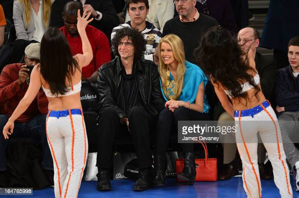 Howard Stern and Beth Ostrosky Stern attend the Memphis Grizzlies vs New York Knicks game at Madison Square Garden on March 27 2013 in New York City