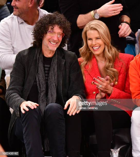 Howard Stern and Beth Ostrosky Stern attend the New York Knicks vs Atlanta Hawks game at Madison Square Garden on October 17 2018 in New York City