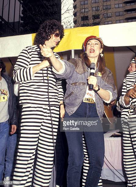 Howard Stern and Lisa Sliwa during 923 K Rock Freedom Rally in New York City New York United States