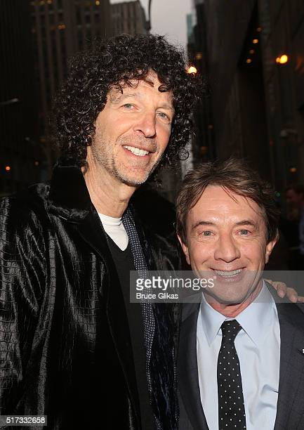 Howard Stern and Martin Short pose at the opening night arrivals for 'Bright Star' on Broadway at The Cort Theatre on March 24 2016 in New York City