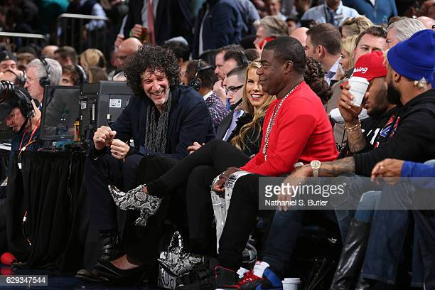 Howard Stern and Tracy Morgan attend the game between the Cleveland Cavaliers and the New York Knicks at Madison Square Garden in New York New York...