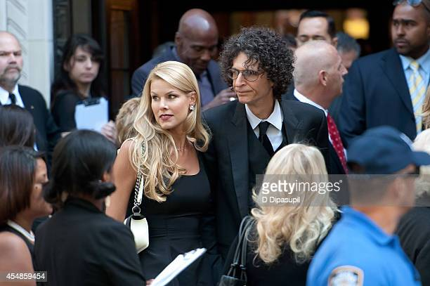 Howard Stern and wife Beth Ostrosky Stern attend the Joan Rivers memorial service at Temple EmanuEl on September 7 2014 in New York City Rivers...