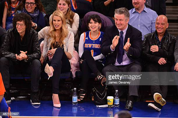Howard Stern Beth Ostrosky Hilaria Thomas Alec Baldwin and Howie Mandel attend the Brooklyn Nets vs New York Knicks game at Madison Square Garden on...