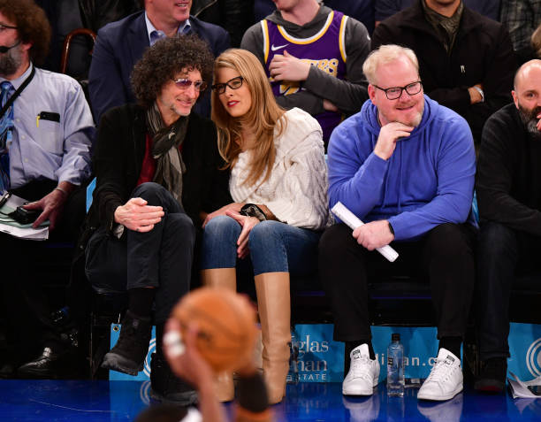 Howard Stern Beth Ostrosky Stern and Jim Gaffigan attend Los Angeles Lakers v New York Knicks game at Madison Square Garden on January 22 2020 in New...