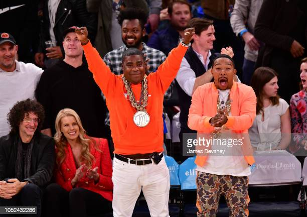 Howard Stern Beth Ostrosky Stern Tracy Morgan and Allen Maldonado attend the New York Knicks vs Atlanta Hawks game at Madison Square Garden on...