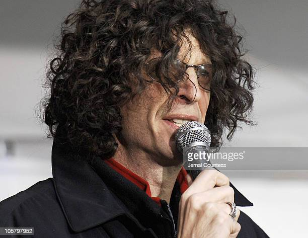 Howard Stern during Howard Stern Farewell Radio Broadcast on KRock Radio at 56th Street in New York City New York United States