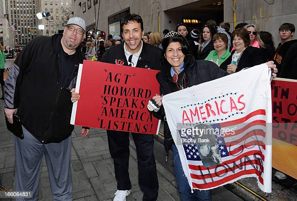 Howard Stern fans Eric Bleaman Bobo and Mariann from Brooklyn attends the America's Got Talent New York Auditions at Rockefeller Center on April 8...