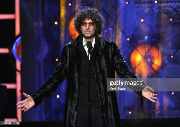 Howard Stern inducts Bon Jovi on stage during the 33rd Annual Rock Roll Hall of Fame Induction Ceremony at Public Auditorium on April 14 2018 in...