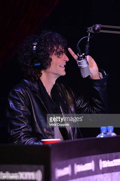 Howard Stern speaks on stage during SiriusXM's Town Hall with Billy Joel hosted by Howard Stern at The Cutting Room on April 28 2014 in New York City