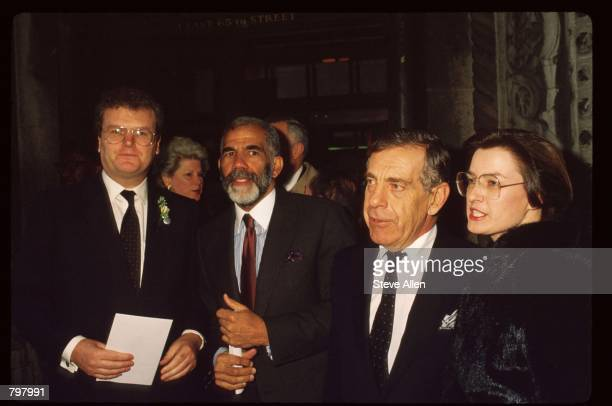 Howard Stringer Ed Bradley Morley Safer and an unidentified woman attend a memorial service for broadcasting executive William Paley November 12 1990...