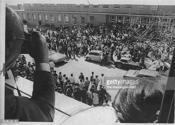 Howard University students mill around the besieged Administration Building as a sitin continues Photographed March 20 1968 in Washington DC