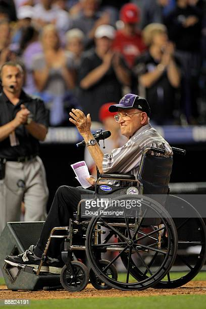Howard Weese who suffers from ALS read a portion of Lou Gehrig's 'Luckiest Man' speech during the seventh inning stretch as the Arizona Diamondbacks...