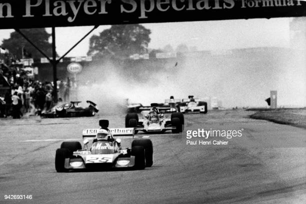 Howden Ganley Emerson Fittipaldi Roger Williamson IsoMarlboroFord FX3B LotusFord 72D Grand Prix of Great Britain Silverstone Circuit 14 July 1973...