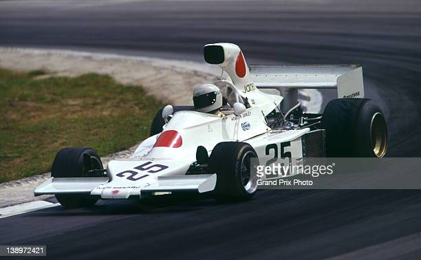 Howden Ganley of New Zealand drives the Maki Engineering Maki F101 Ford Cosworth DFV 30 V8 during practice for the John Player British Grand Prix...