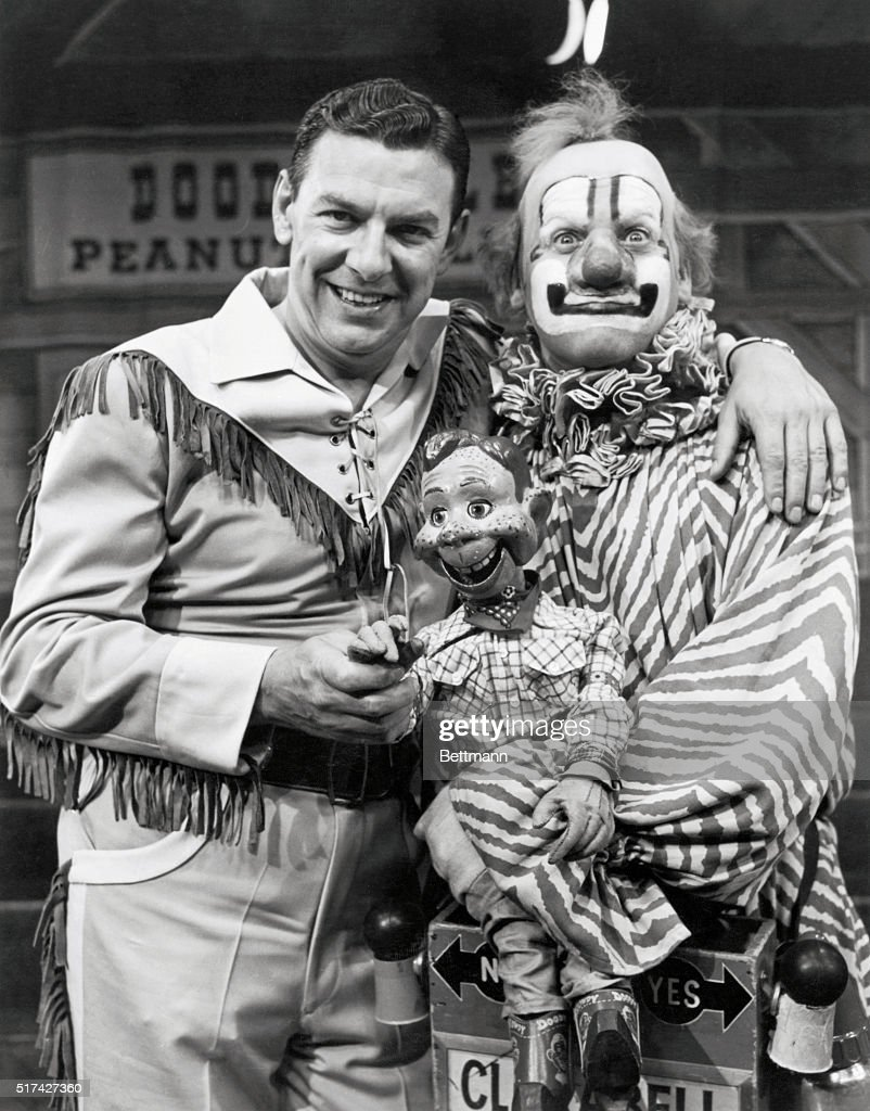 'Howdy Doody' Time: Bob Smith and his pals, Howdy Doody (center) and the silent clown (Clarabell), were the favorite entertainers of a generation of children via The Howdy Doody Show, which ran on NBC-TV from December 1947 until January 1956. Smith created his famous wooden partner, Howdy Doody, and provided Howdy's voice. The show, which began as a weekly half-hour program, was expanded to thrice-weekly half-hours and then, because of its tremendous popularity, to a daily attraction. Its introductory song, It's Howdy Doody Time, soon became a favorite tune of youngsters all across the nation.