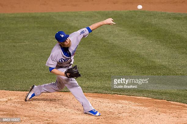 P Howell of the Los Angeles Dodgers pitches against the Colorado Rockies during a game at Coors Field on August 2 2016 in Denver Colorado