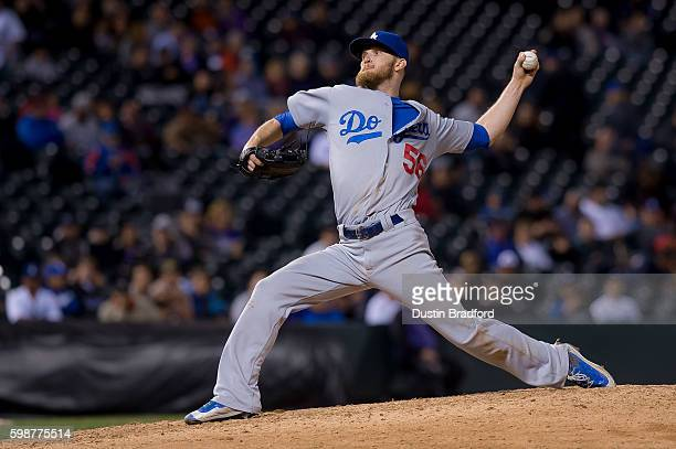 P Howell of the Los Angeles Dodgers pitches against the Colorado Rockies in the eighth inning of a game at Coors Field on August 29 2016 in Denver...