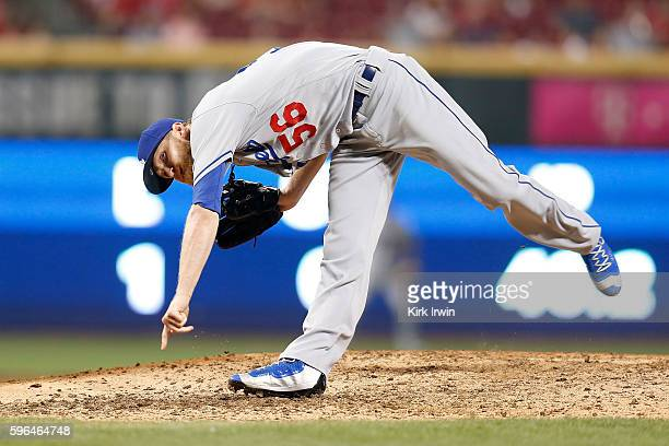 P Howell of the Los Angeles Dodgers throws a pitch during the game against the Cincinnati Reds at Great American Ball Park on August 19 2016 in...