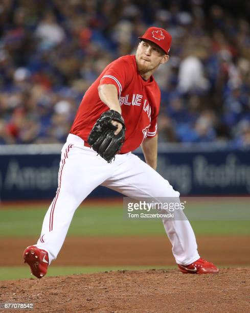 P Howell of the Toronto Blue Jays delivers a pitch in the eighth inning during MLB game action against the Tampa Bay Rays at Rogers Centre on April...