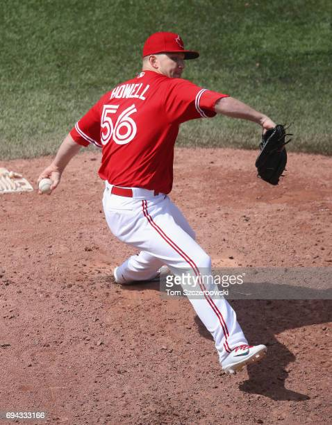 P Howell of the Toronto Blue Jays delivers a pitch in the ninth inning during MLB game action against the Texas Rangers at Rogers Centre on May 28...