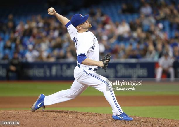 P Howell of the Toronto Blue Jays delivers a pitch in the seventh inning during MLB game action against the Cleveland Indians at Rogers Centre on May...