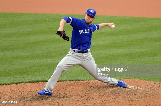 P Howell of the Toronto Blue Jays pitches against the Baltimore Orioles on Opening Day at Oriole Park at Camden Yards on April 3 2017 in Baltimore...