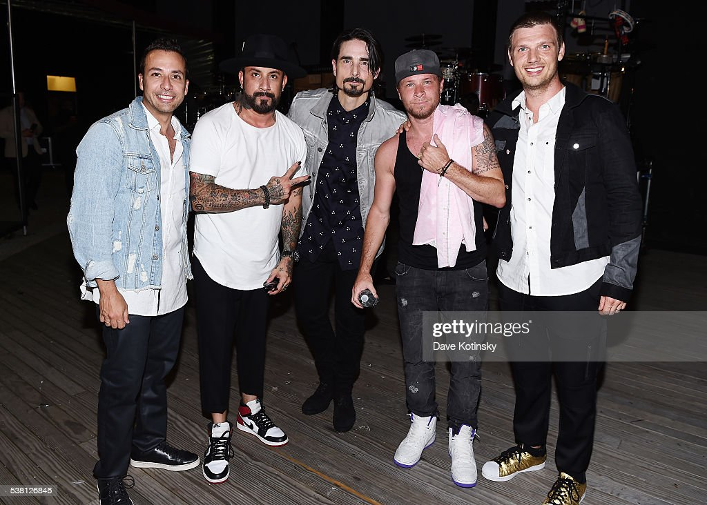 Howie Dorough, A. J. McLean, Kevin Richardson, Brian Littrell and Nick Carter of Backstreet Boys pose for a photo backstage during 103.5 KTU's KTUphoria 2016 presented by Aruba, at Nikon at Jones Beach Theater on June 4, 2016 in Wantagh, NY.