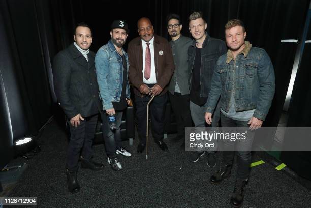 Howie Dorough AJ McLean Jim Brown Kevin Richardson Nick Carter and Brian Littrell attend SiriusXM at Super Bowl LIII Radio Row on February 01 2019 in...