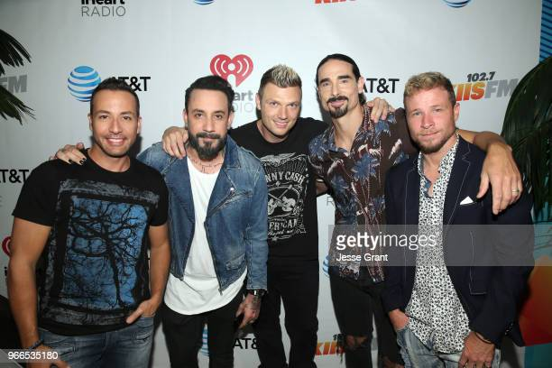 Howie Dorough AJ McLean Nick Carter Kevin Richardson and Brian Littrell of the Backstreet Boys backstage at the 2018 iHeartRadio Wango Tango by ATT...