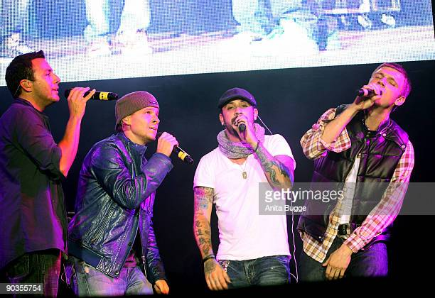 """Howie Dorough, Brian Littrell, AJ Mclean and Nick Carter of the Backstreet Boys perform live during the """"Stars for free"""" concert at Wuhlheide stadion..."""