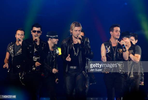 Howie Dorough Danny Wood Donnie Wahlberg Nick Carter and Joey McIntyre of New Kids On The Block and the Backstreet Boys perform on stage at Echo...
