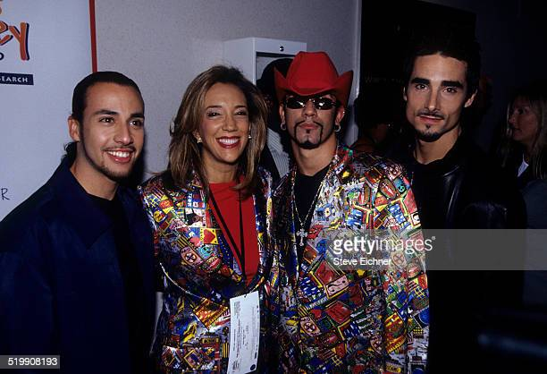 Howie Dorough Denise Rich AJ McLean and Kevin Richardson of Backstreet Boys attend the premiere of 'Star Wars The Phantom Menace' New York May 16 1999