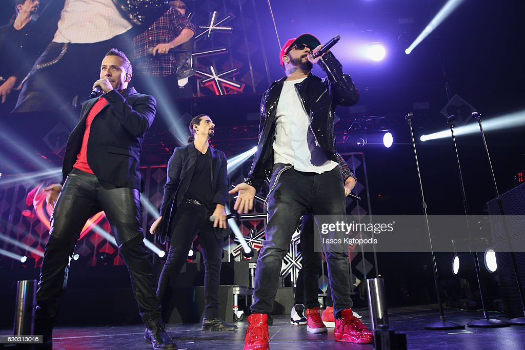 Howie Dorough, Kevin Richardson, and A. J. McLean of Backstreet Boys perform onstage during 103.5 KISS FM's Jingle Ball 2016 at Allstate Arena on December 14, 2016 in Rosemont, Illinois.
